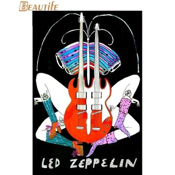 New Arrival Led Zeppelin poster Cloth Silk Poster Home Decoration Wall Art Fabric Poster Print 30x45cm,40x60cm,50X75cm,60X90cm