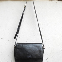 Vintage FRANCINEL PARIS Black Leather Messenger Bag , Crossbody Bag / Medium / Made in France
