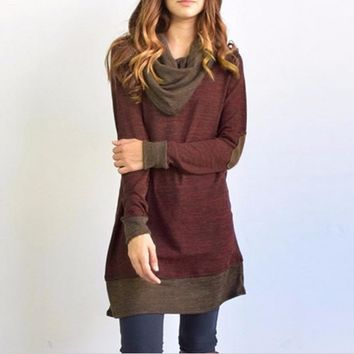 Casual Winter Long Sleeve Cotton Mini Dress or Tunic