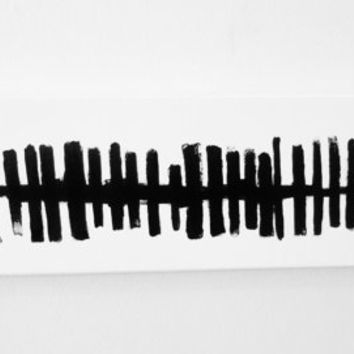 Original Abstract Painting Art Black and White OOAK - Modern Minimal Geometric Line Art - 6 x 24 inch Canvas - FREE SHiPPiNG (Canada & US)