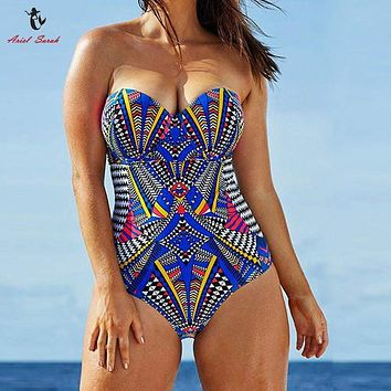Tribal print Multi color Swimming Suit Plus Size  full figure Swimwear Push Up Bra  Bathing Suit