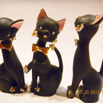 Vintage Matte Black Bisque Cat figurines..rhinestones and spaghetti bits..lovely..set of Three
