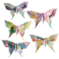 20 Small Swallowtail 3D Origami Butterflies (Floral Print)  - Great for Name or Placement Cards