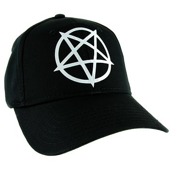 White Unholy Inverted Pentagram Symbol Hat Baseball Cap Occult Alternative Clothing Snapback