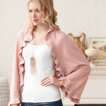 Women's Pink 6-IN-1 Ruffle Sweater Wrap Versatile Poncho Cardigan Shawl Shrug