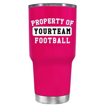 TREK Property of Football Personalized on Hot Pink 30 oz Tumbler Cup