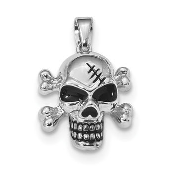 Sterling Silver Rhodium-plated Antiqued Enameled Skull Pendant QP4798