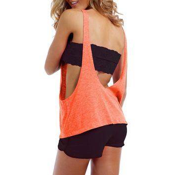 Women's Juniors Tank Top Sexy Open Sides and Back CORAL
