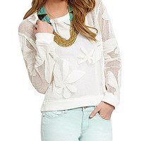 Jessica Simpson Sheron Floral Mesh Top - Cloud White