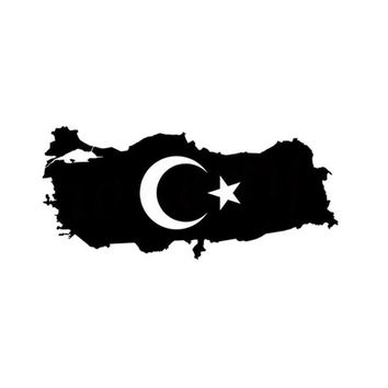 Turkey Map Country Flag Car Stickers  Wall Home Glass Window Door Laptop Auto Truck Black Vinyl Decal Decor Gift 17.9cmX8.1cm