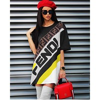 FENDI Summer Fashion Women Casual Print Short Sleeve Round Collar Dress Black