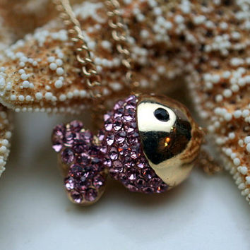 Pink Crystal Fish Pendant Chain Necklace
