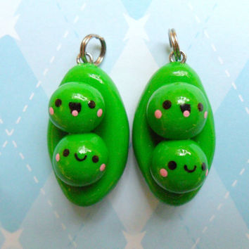 Kawaii Peas in a Pod Charm Best Friends Charm BFF by JollyCharms