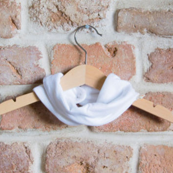 Scarf bib. Stylish drooler bib for little dribblers.Jersey 100% cotton. Baby and toddler. Plain white