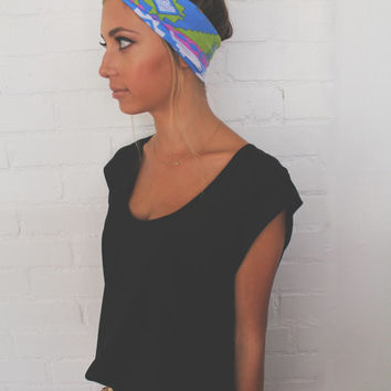 Turban Headband -- Blue Tribal
