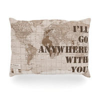 "Catherine Holcombe ""I'll Go Anywhere With You"" Brown Map Oblong Pillow"
