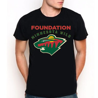 Minnesota Wild MNW Foundation Hockey Team Logo Custom Black T-Shirt Tee All Size