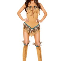 Women Brown Feather Native American Seductress Strapless Halloween Costume