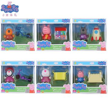 Genuine Pink Pig Little Girl Hot Sale Pig Action Set Various George Friends Toy Boys Girls Birthday Gifts Christmas Gifts