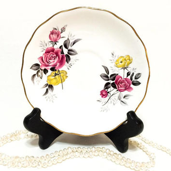 Royal Vale Tea Cup Saucer, Pink & Yellow Roses, 1950s, Shabby Chic, Replacement China, Mix and Match, Vintage Bone China Porcelain