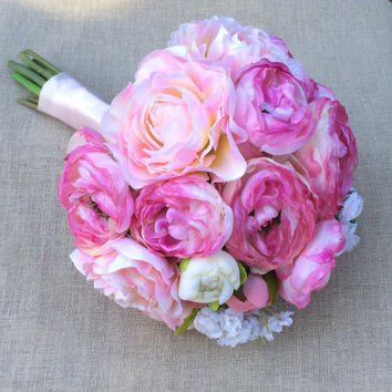 PINK Wedding Bouquet. Silk Wedding Flowers. PINK Silk Bridal Bouquet. Silk Ranunculus Bridesmaid Bouquet. Ready to Ship