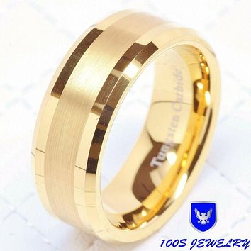 Tungsten Carbide Ring, 14k Gold 8mm Jewelry, Bridal Size 8-16
