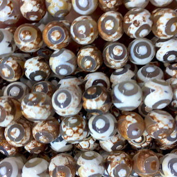 white and brown restro Dzi agate beads - hand paste eye gemstone beads - Dzi agate beads supplies - 10mm Dzi agate beads - 15 inch