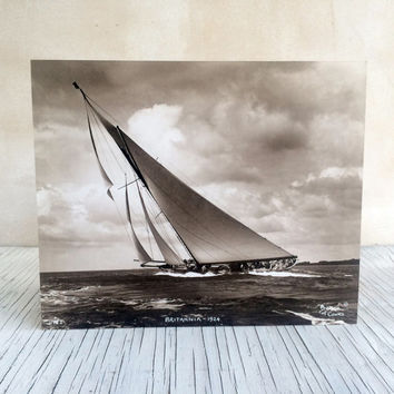 Beautiful elegant J-Class yacht, famous English Breken of Cowes photograph made using the original 1930s glass negative plates circa.