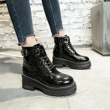Women Motorcycle Boots Lace Up Buckle Female Motocross Shoes Short Plush Leather Martin Boots