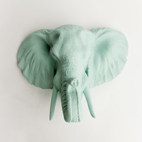 The Sydney - Sea Foam Resin Elephant Head- Resin Seafoam Faux Taxidermy- Chic & Trendy