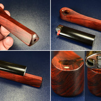 Fine Cocobolo Wood Hand carved Ember Out Pipe •Made in America•   « Wooden Pipes, Wooden Smoking Pipes, Small Wood Pipe, Small Wooden Pipe »
