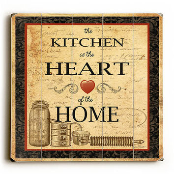 Kitchen Heart Home by Artist Jean Plout Wood Sign