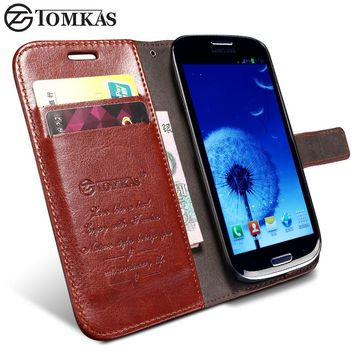 TOMKAS S3 Wallet PU Leather Case For Samsung Galaxy S3 i9300 Luxury Phone Cover Cases KickStand Design with Card Holder
