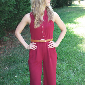 Little Red Wagon Button Jumpsuit