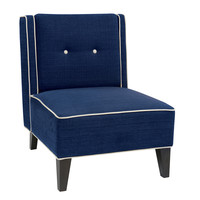 Office Star Ave Six Marina Accent Chair In Woven Indigo Fabric With Inner Box Spring & Solid Wood Legs [MAR51-W17]