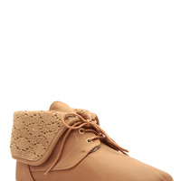 Chestnut Faux Nubuck Fold Over Crochet Lace Up Ankle Boots