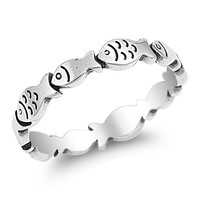 925 Sterling Silver School of Fish Ring 4MM