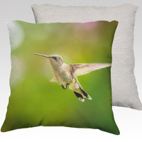 "Green Photo Pillow Cover, Decorative Throw Pillow Case, 18x18"", Humming Bird, Cuddle Pillow, Gift Idea, Child's Room, Home Decor"