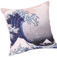 Bigmouth Great Wave off Kanagawa Japanese Cushion Cover Square Pillowslip