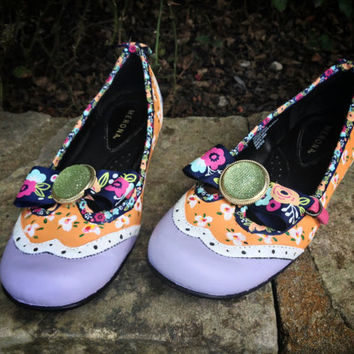 Orange + Lilac Floral Mary Jane's Hand-Painted Sz 8.5 (US) 39 (EU) Ready to Ship!