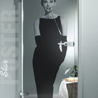"TRANSPARENT Door STICKER audrey decole film hepburn poster 31x79""(80x200 cm)"