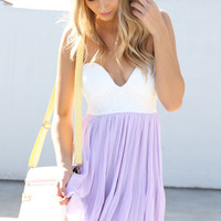 Purple Chiffon Dress with White Bodice Top & Pleated Skirt