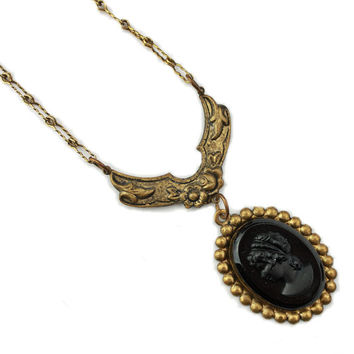 Antique Black Cameo Necklace Paperlink Chain