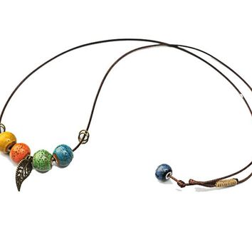 Ceramic Color Beads Leaf Pendant Necklace For Women