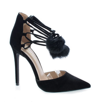 Kiola Black F-Suede by Shoe Republic, Black Suede D'Orsay Pom Pom Ankle Wrap Stiletto Heel Sandals