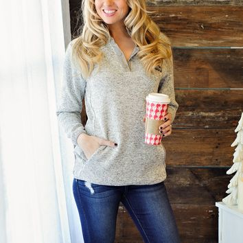 * Simply Southern Knit Pullover: Heathered Light Grey