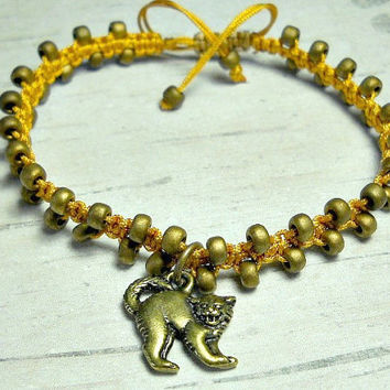 Macrame Bracelet With Cat Charm, Halloween Bracelet, Cat Bracelet, Bead Bracelet