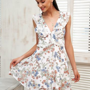 Floral Ruffle Flowy Dress