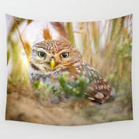 Owl eyes. Sunset in the eyes Wall Tapestry by Guido Montañés