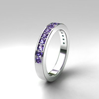 Lavender sapphire wedding ring made from white gold, purple eternity band, unique, lavender engagement, half eternity ring, light violet